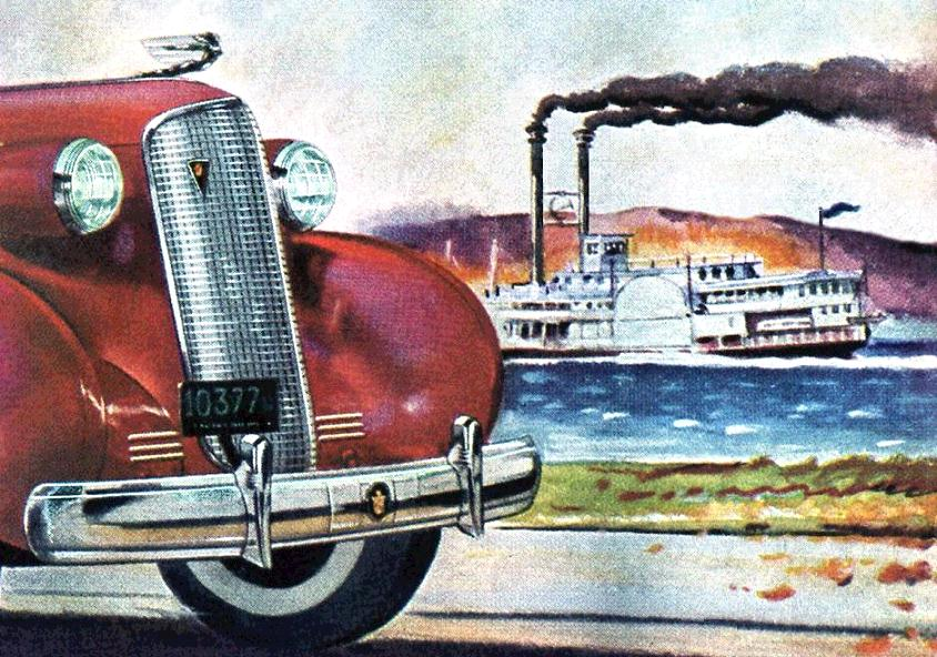 Cadillac 1937 detail Ad with steamboat 90 percent EXP