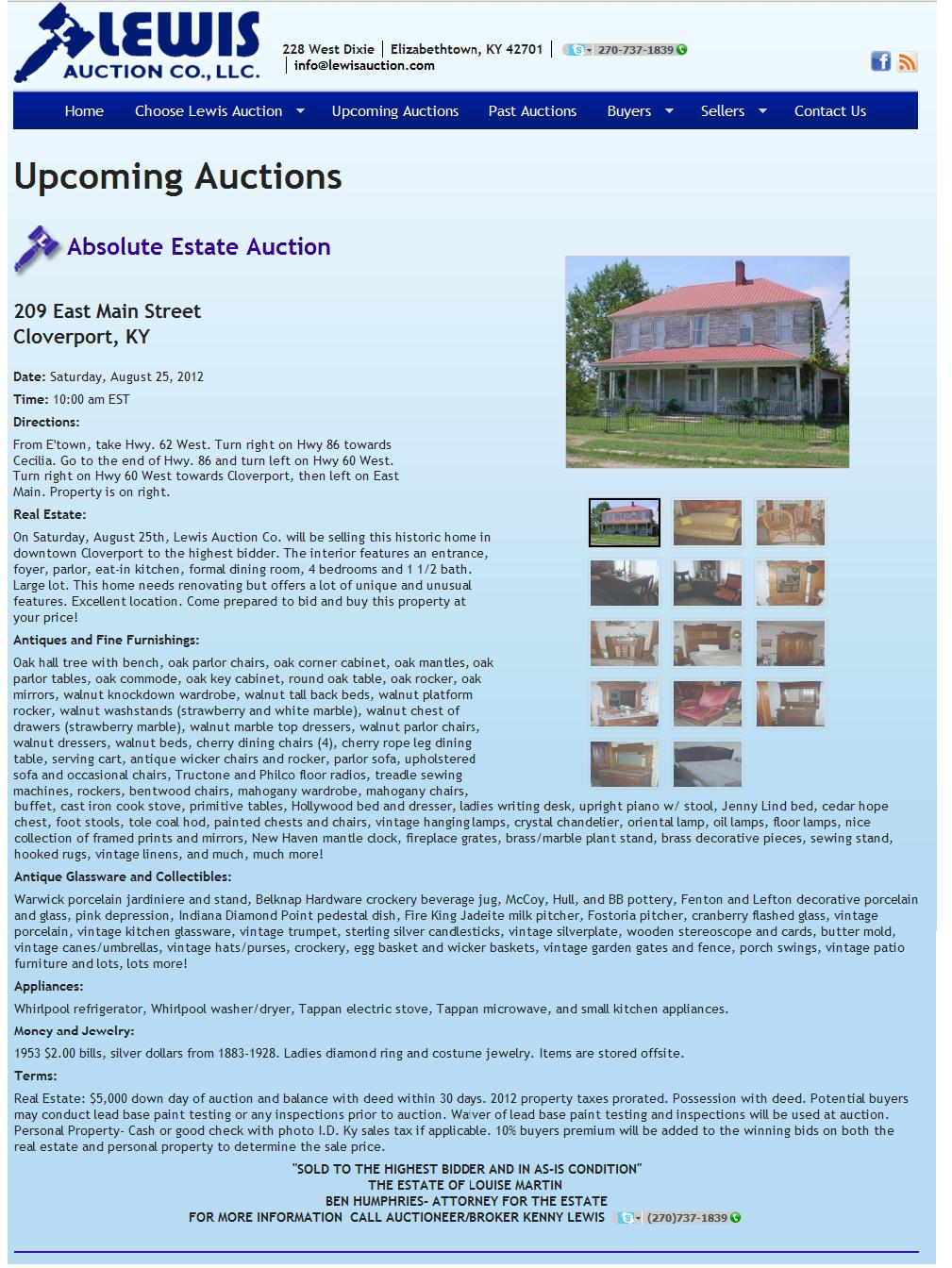 Cloverport Auction 25 Aug Probably JM WHITE house