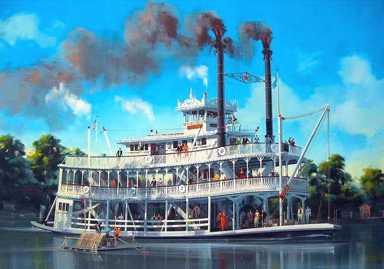 Disneyland Mark Twain A painting by Eric Heschong
