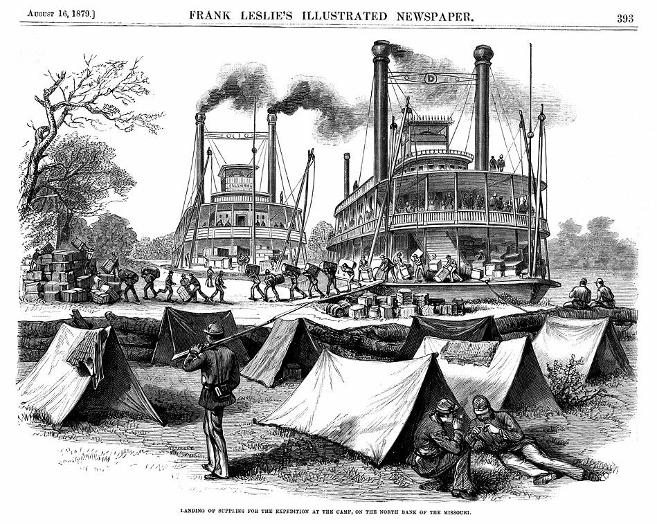 Frank Leslie's Illust News. 16 August 1879 steamboats Missouri River 40 percent for NORI