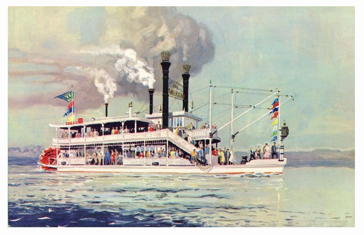Freedomland USA Amusement Park Excursion Boat 1960 Postcard