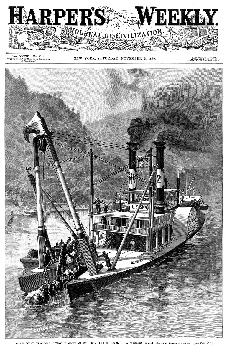 Harper's Weekly Cover SNAGBOAT 2 Nov 1889 33 percent for NORI