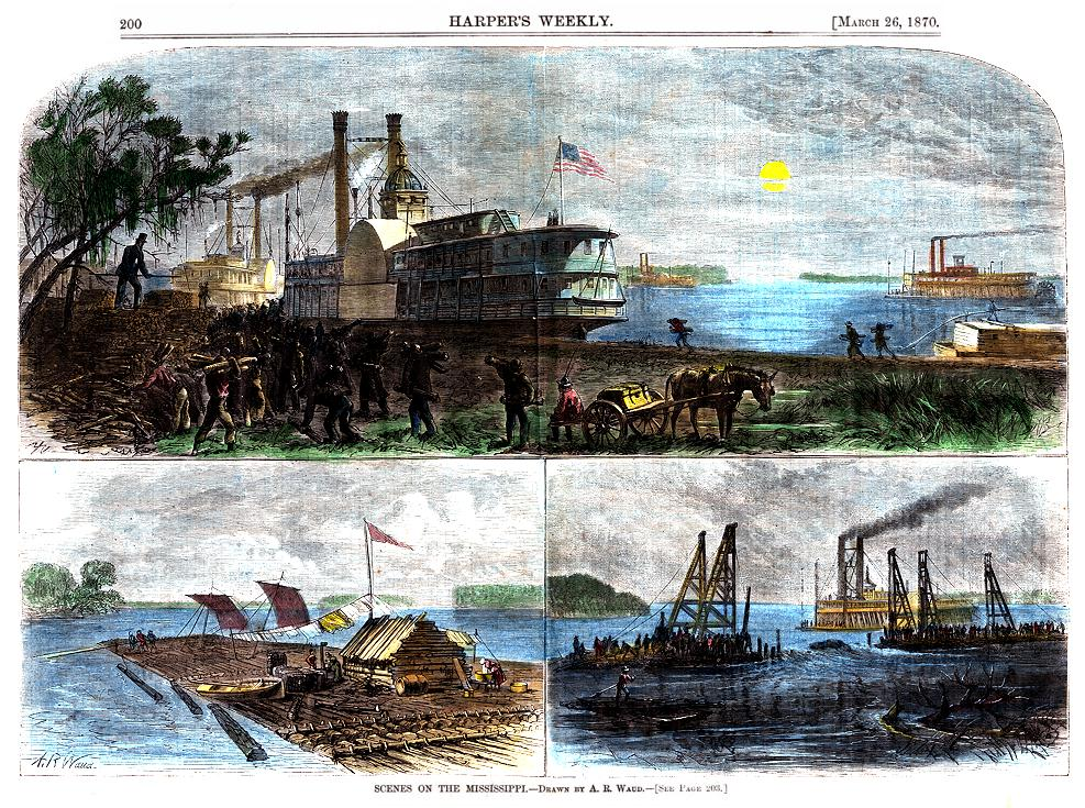 HarpersWeekly26March1870A.R.Waud3ofMississippiRiver