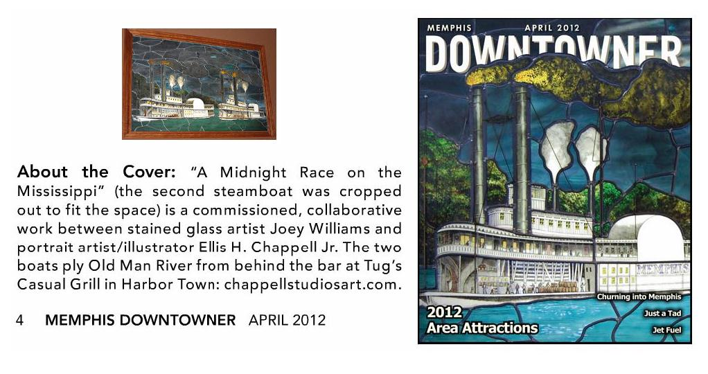 Leaded glass steamboat Cover April 2012 MEMPHIS DOWNTOWNER