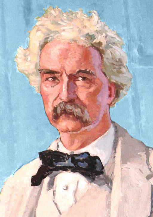 MARK TWAIN Mural Governor's Office Detail over Blue HALF size