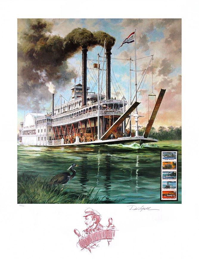 CANVAS View on the Mississippi River by Ferdinand Reichardt Art print POSTER