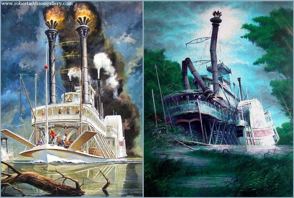 ROBERT WILLIAM ADDISON 1924-1988 steamboat Illustration and Serigraph