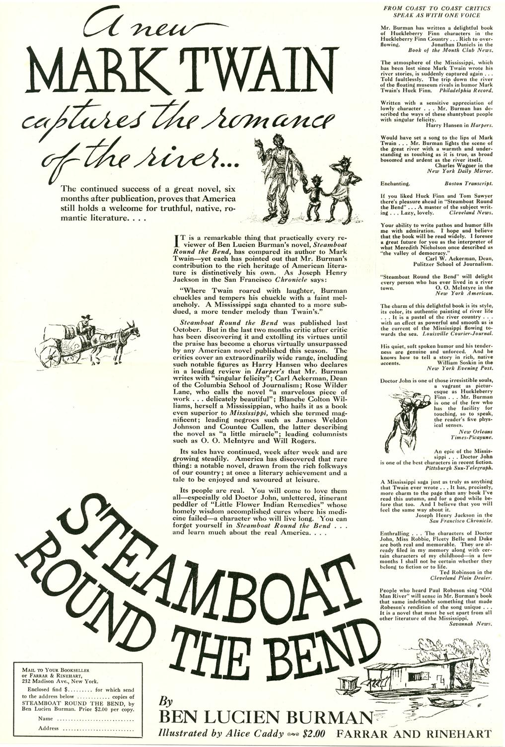 Steamboat Bend Promo of Novel 1934 for Nori