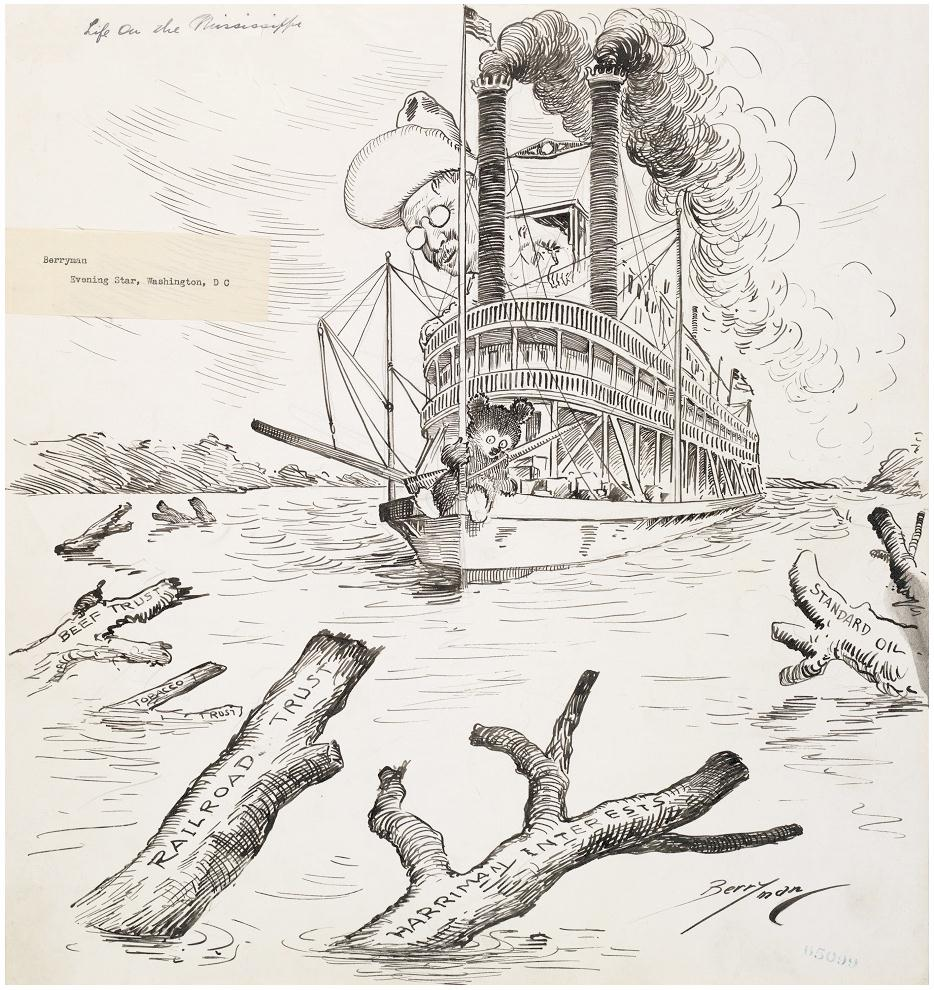Teddy_Roosevelt_Cartoon_Clifford_Berryman_LIfeOnTheMississippi_2Oct1907_NationalArchives_REDUCED