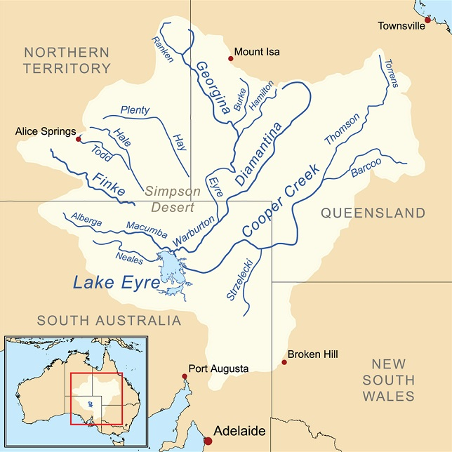 ThomsonRiverMAPQueenslandSouthAustraliaLakeEyreBasin