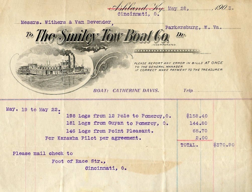 Towboat Smiley Co 1903 invoice HALF size-1