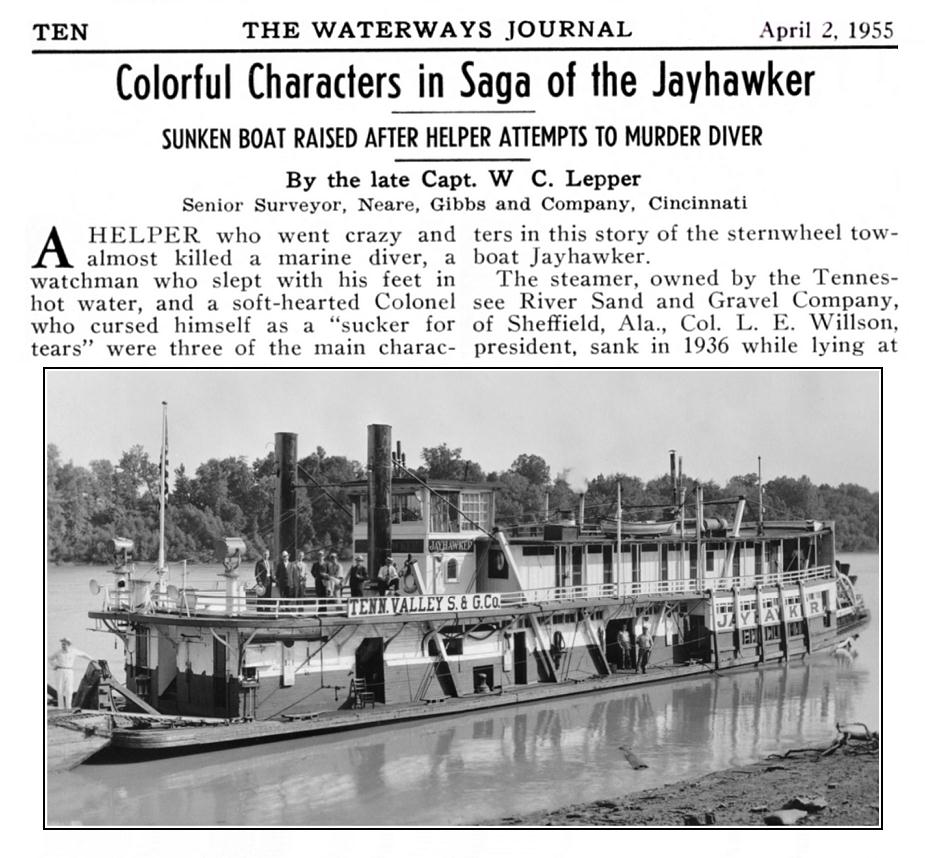 WaterwaysJournal2April1955JayhawkerLaCrossePhoto