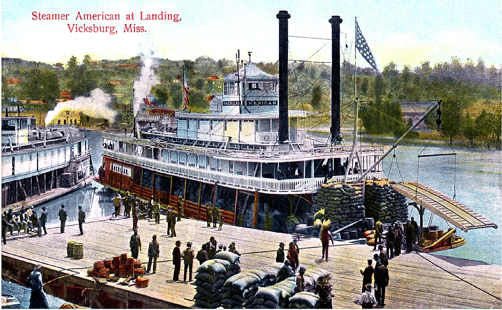 colorized steamboat postcard