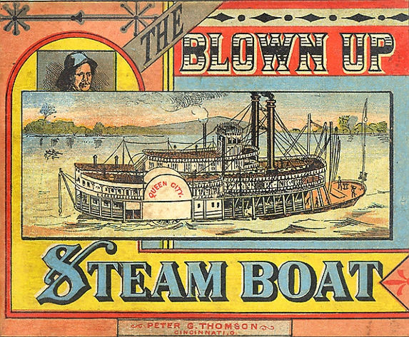 puzzle with steamboat illustration