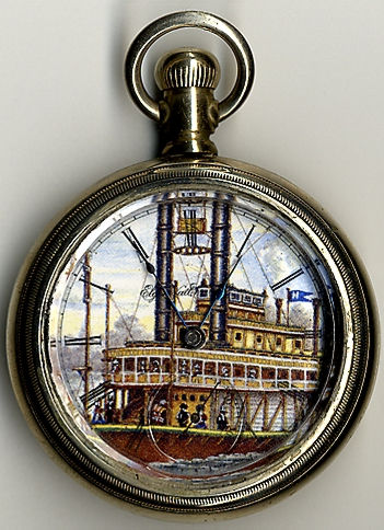 Elgin watch with steamboat illustration