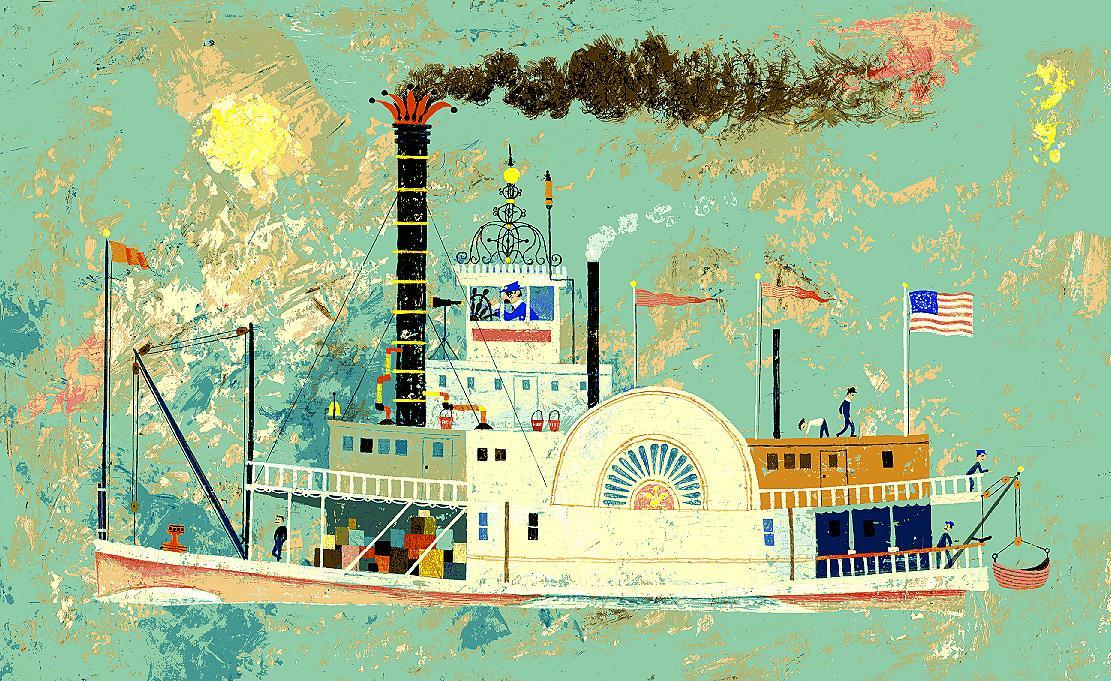 Carl Sacks steamboat painting