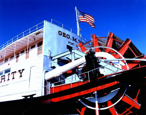 contemporary paddlewheel steamboat