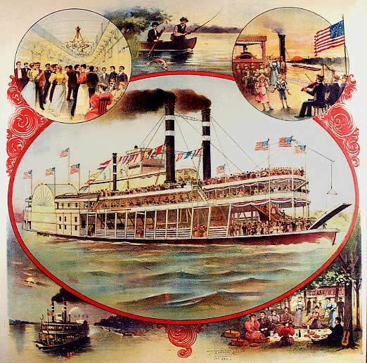 lithograh ad steamboat illustration
