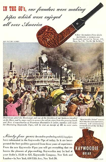 Kaywoodie pipe advertisement with steamboat illustration