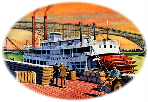 Kelly Tires ad steamboat illustration